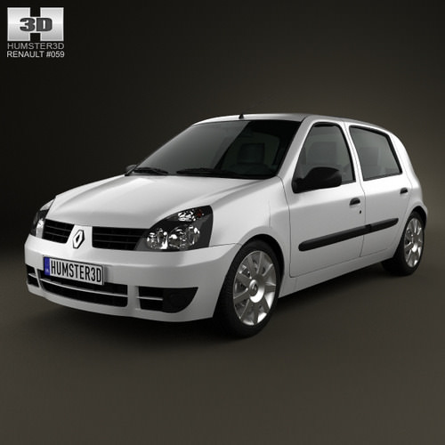 Renault Clio 2: Renault Clio Mk2 5-door 2005 3D Model .max .obj .3ds .fbx