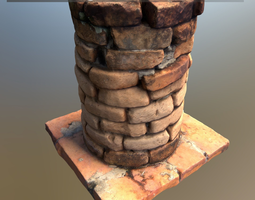 3d model scanned brick pillar low-poly