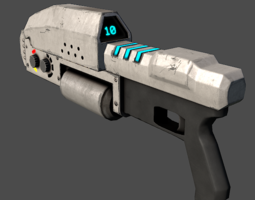 sci-fi laser rifle 3d asset low-poly