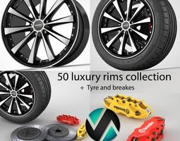 50 rims collection 3D Model
