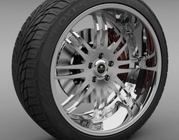 Savini Forged SV-9S Wheel and Tire 3D