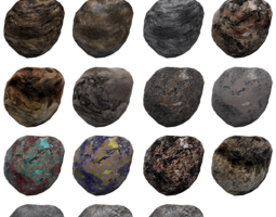 game-ready low-poly asteroids 3d asset