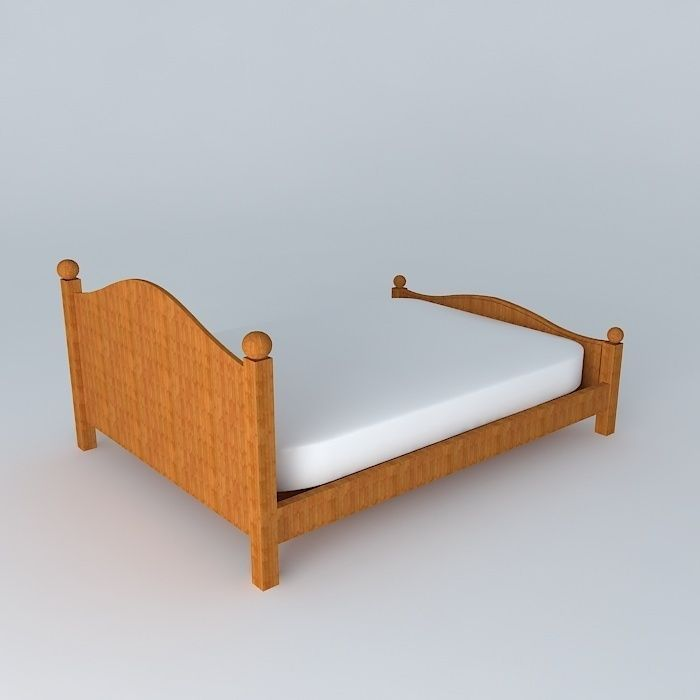 Queen bed free 3d model max obj 3ds fbx stl dae for Cama 3d max