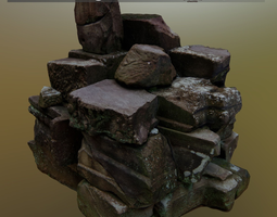 Big Scanned Stonepile 3D asset