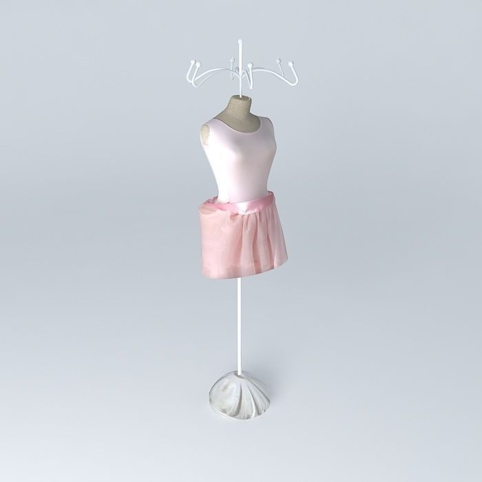 Jewelry holder mannequin dancer tutu house 3d model for Jewelry stand 3d model