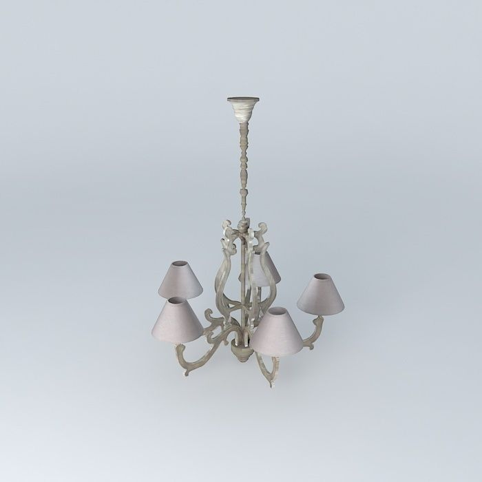 Chandelier 5 branches chaumont houses the 3d model max obj 3ds fbx stl da - Chandelier a 5 branches ...