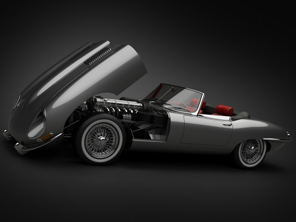 1964 Jaguar E-Type 4.2 Roadster 3D Model .max .obj .3ds .fbx .lwo .lw .lws