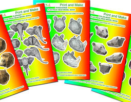 Cut out and Make Card Models of  Animal Heads 3D Model