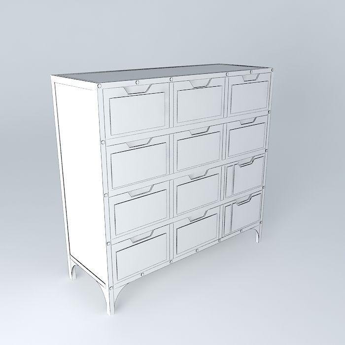 cabinet road maisons du monde 3d model max obj 3ds fbx stl dae. Black Bedroom Furniture Sets. Home Design Ideas
