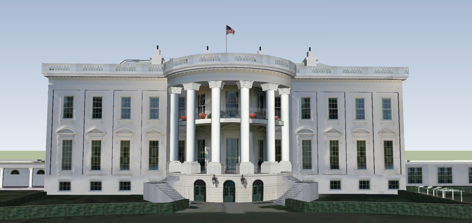 The white house 3d model skp for Exterior 3d model