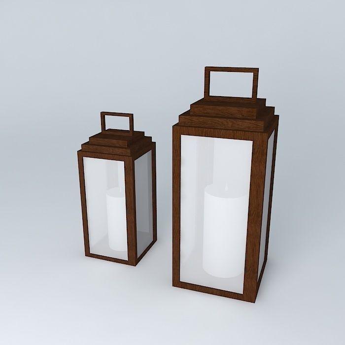Wooden lantern wooden lantern ornament garden free 3d for Wooden garden lanterns