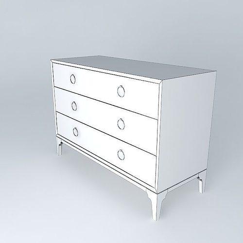 ... Zinc Door Redford House Bennett 3 Drawer Dresser 3d Model Max Obj 3ds  Fbx Stl Dae ...