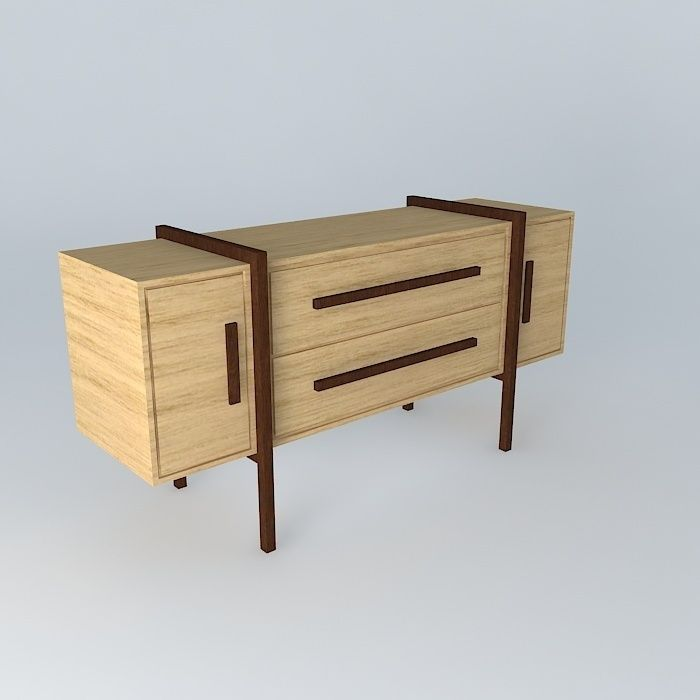 Buffet sideboard console free 3d model max obj 3ds for Sideboard 3d