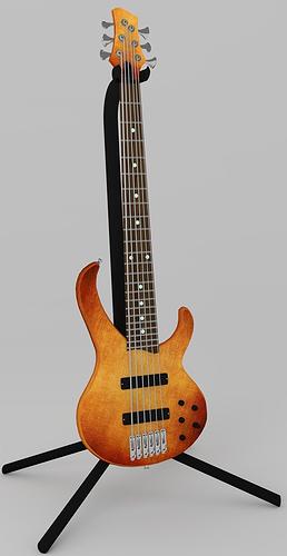 bass guitar 3d model obj mtl fbx blend 1