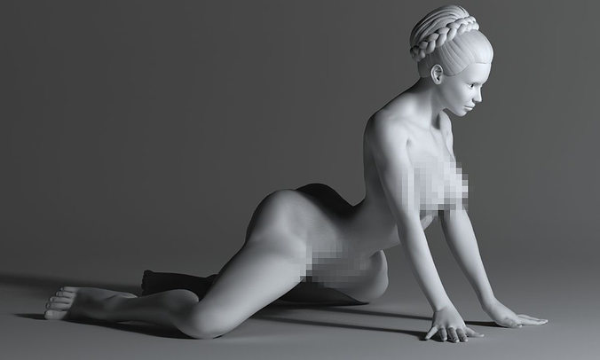 strong naked woman 3d model stl 1
