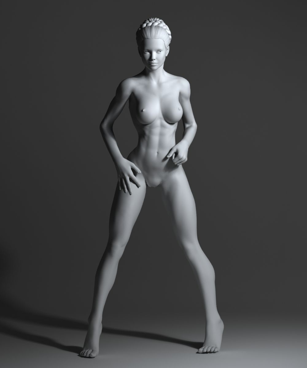 a strong naked woman
