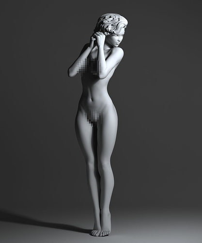 sexy woman with short hair 3d model stl 1