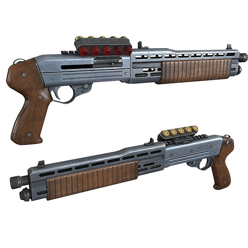 game ready shotgun 3d model low-poly max obj mtl fbx tga 1