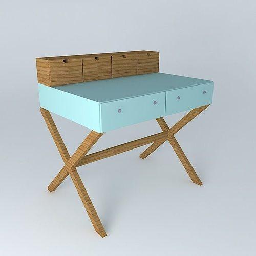 Teen Desk Desk Teen Free 3D Model MAX OBJ 3DS FBX STL DAE
