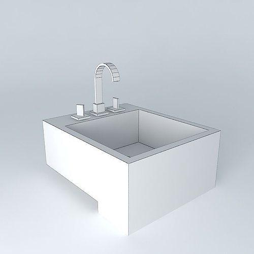 Pia semi encaixe bathroom sink free 3d model max obj 3ds for Sketchup bathroom sink