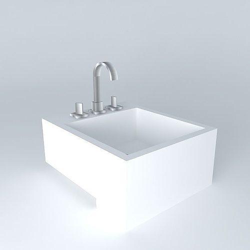 Pia semi encaixe bathroom sink 3d model cgtrader for Sketchup bathroom sink