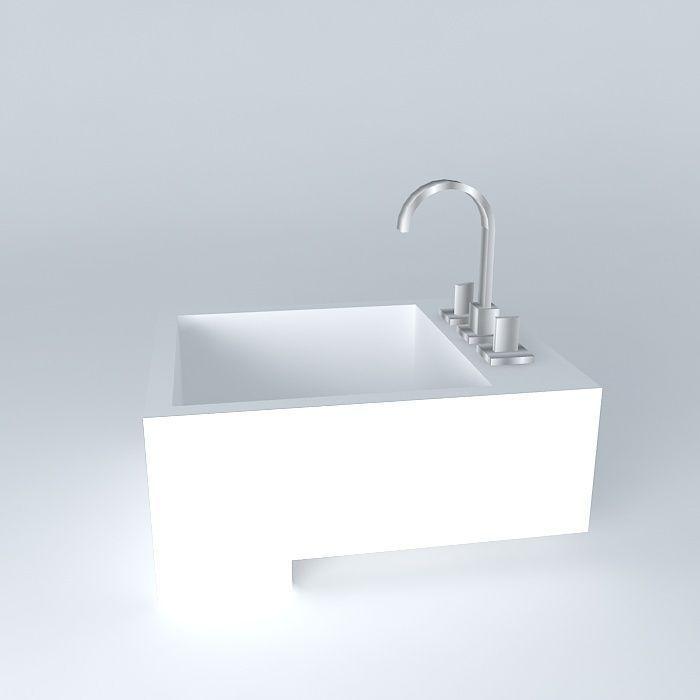 Pia semi encaixe bathroom sink free 3d model max obj for Sketchup bathroom sink