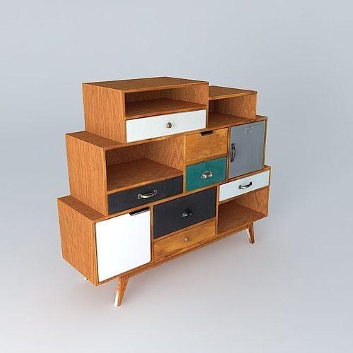 cabinet picadilly maisons du monde 3d model cgtrader. Black Bedroom Furniture Sets. Home Design Ideas