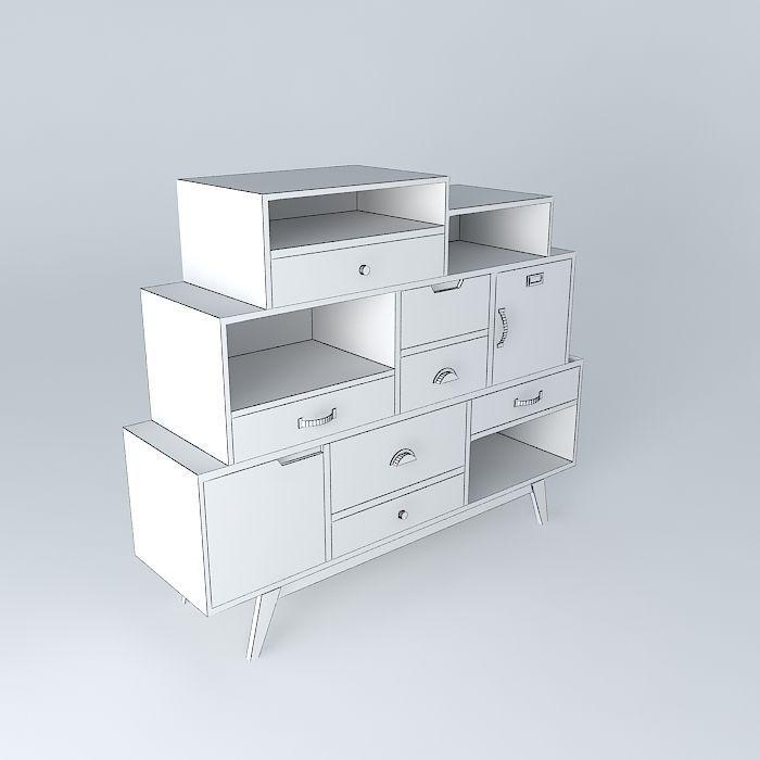 cabinet picadilly maisons du monde 3d model max obj 3ds fbx stl dae. Black Bedroom Furniture Sets. Home Design Ideas