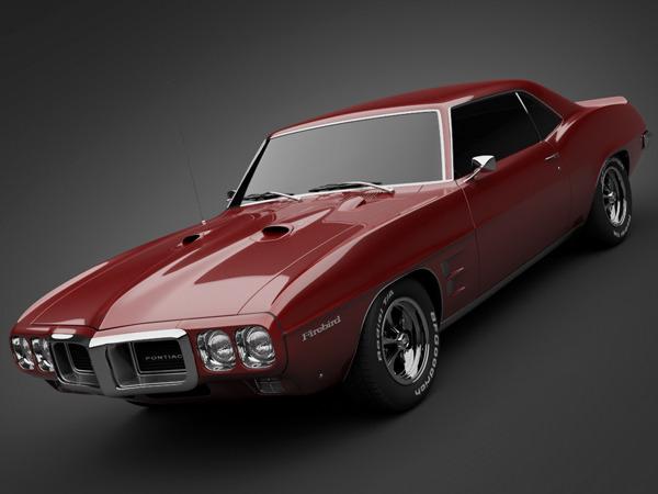1969 Pontiac Firebird 400 3D Model MAX OBJ 3DS LWO LW LWS