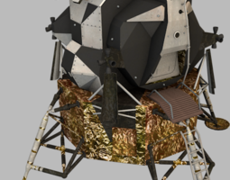 3d model low-poly apollo lunar module