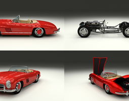 Fully Modelled Mercedes 300SL Roadster Red 3D Model