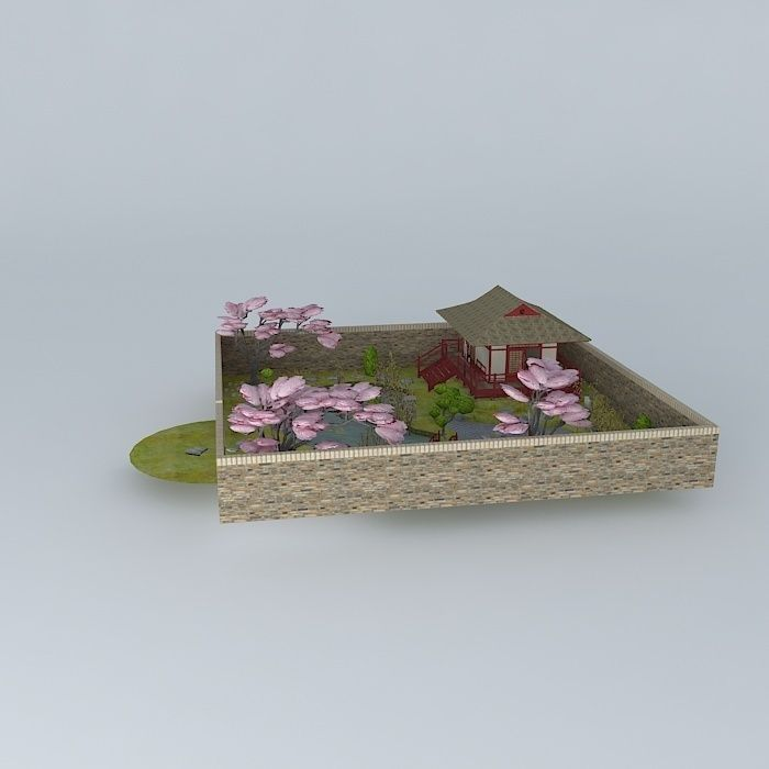 Japanese Teahouse With Garden Free 3d Model Max Obj 3ds