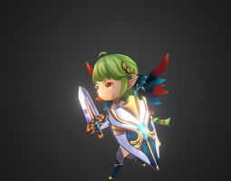 animated 3d asset girl chibi for mobile game VR / AR ready