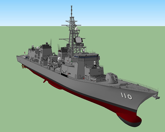jmsdf takanami class destroyer dd-110  3d model dae skp 1