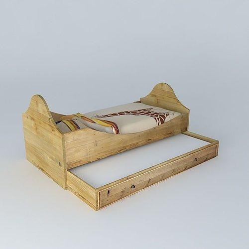 recycled wood crib sleeping drawer noisette maisons du monde 3d model max obj mtl 3ds fbx stl dae 1