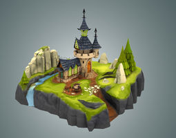 3D asset Stylized Castle Environment