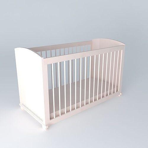 pink barred cot pastel maisons du monde 3d model max obj 3ds fbx stl dae 1