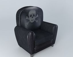 3d model armchair black leather look skull sparrow houses the world