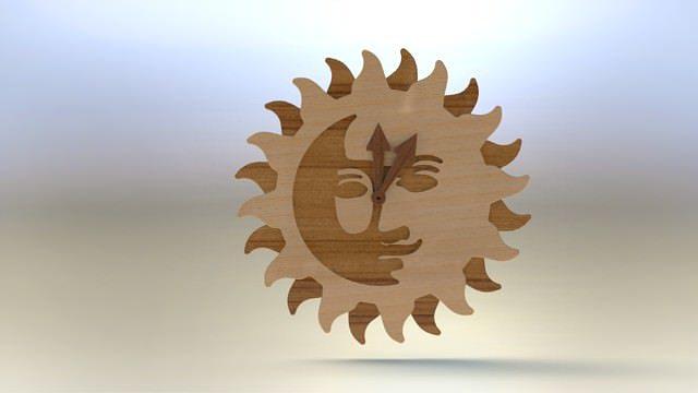 wooden sun clock asm 3d model rfa rvt 1