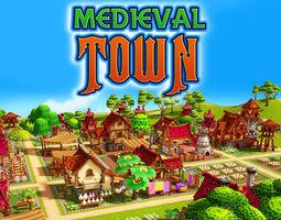 3D asset animated Modular Medieval Town