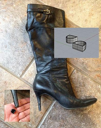 3d printable woman boot heel 3d model stl 1