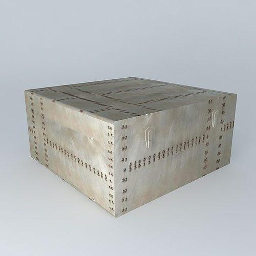 malle brushed aluminum metal maisons du monde 3d model max. Black Bedroom Furniture Sets. Home Design Ideas