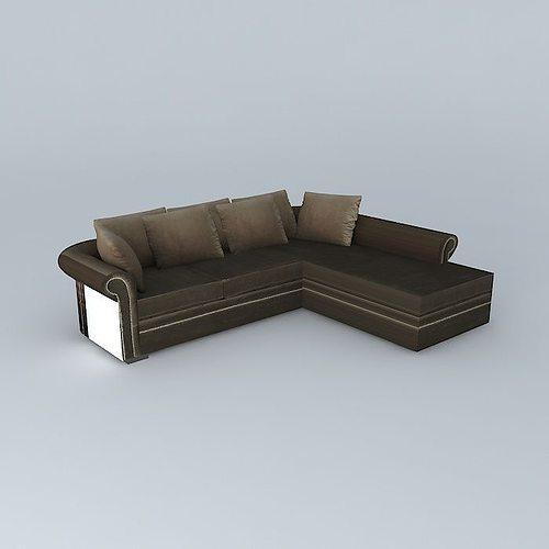 Taupe Velvet Sofa: Sofa Angle PLAZZA Taupe Velvet Maisons Du Monde 3D Model