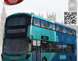 wrightbus streetdeck sapphire livery rigged 3d model low-poly