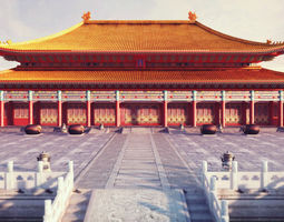 3d model low-poly forbidden city hall of supreme harmony