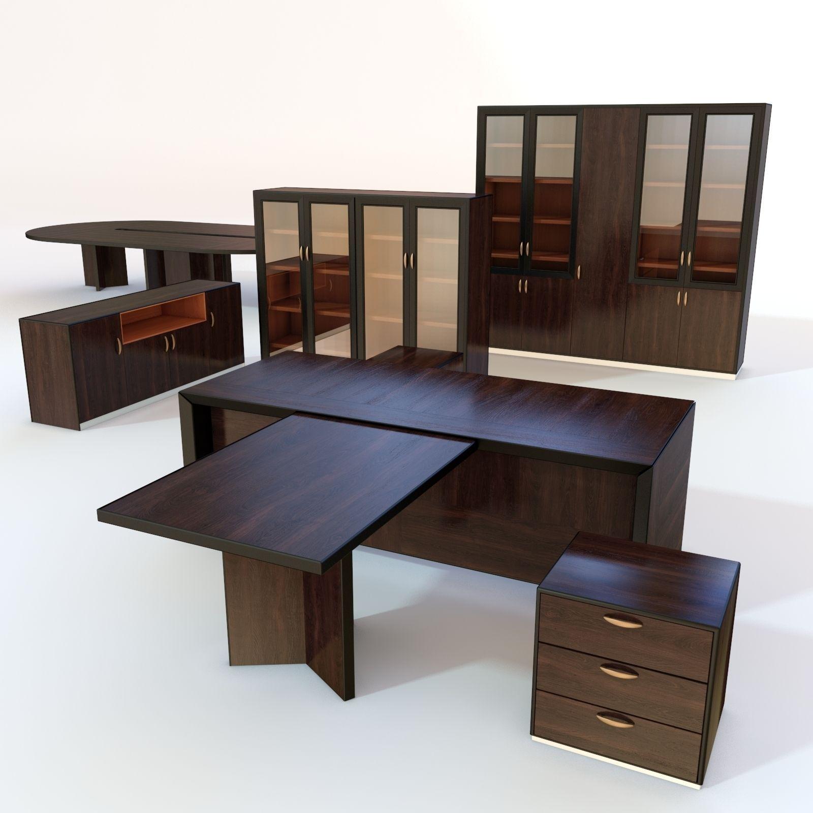 Office Furniture 3 3d Model Low Poly Max Obj 3ds Fbx Mtl 1