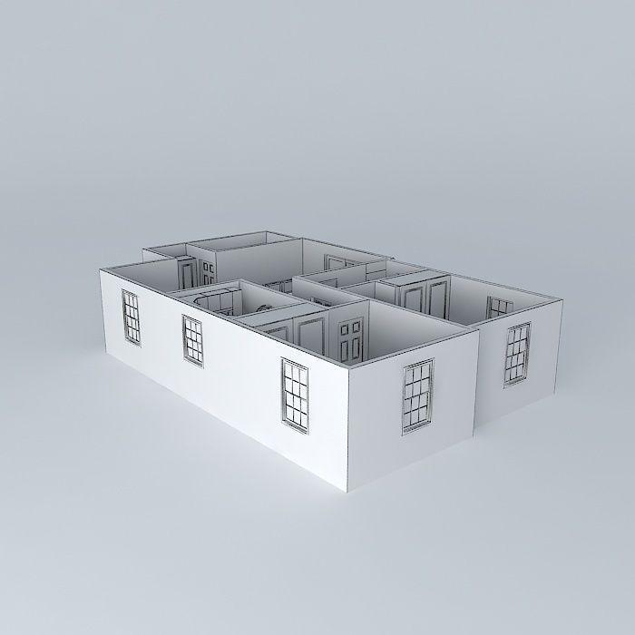 2 Bedroom Apartment Free 3D Model MAX OBJ 3DS FBX STL DAE