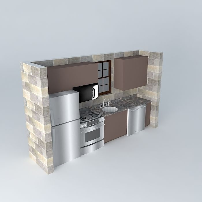 Small One Wall Kitchen 3D | CGTrader