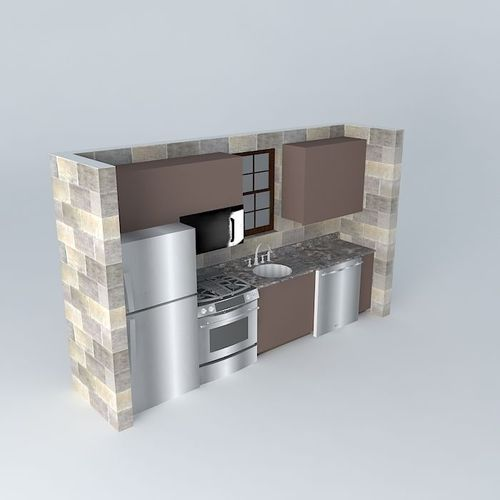 Small One Wall Kitchen Free 3d Model Max Obj 3ds Fbx Stl