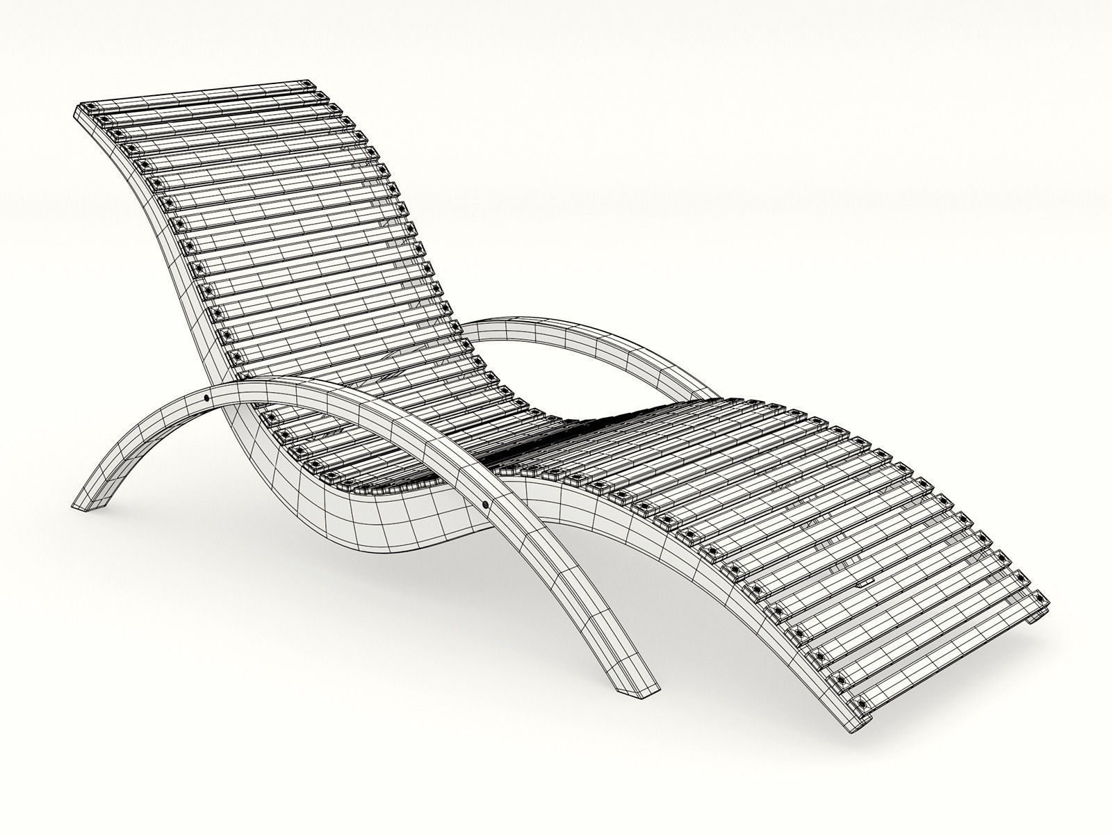 Outdoor wooden lounge chairs -  Lounge Chair Outdoor Wood Patio Deck 3d Model Obj Dxf Mtl 3